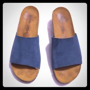 Marina luna comfort Royal blue suede wedge sandals